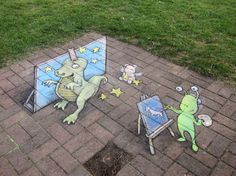 """Art is a lie that makes us realize truth."" -Pablo Picasso. David Zinn, 2013, Dexter, Michigan"