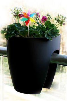 Greenbo Black Railing & Deck Planter - Set of 2