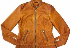 Ladies Orange PU High Quality Garment Dye Jacket