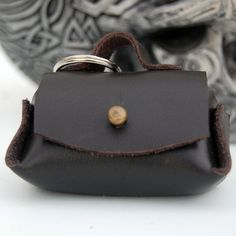 Leather Keychain Pouch Coin Purse Black or Pink Gift Idea Medicine Bag Handmade by ForgiAntica on Etsy    Perfect gift idea for the