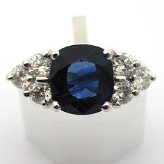 Bague or saphir diamants 533