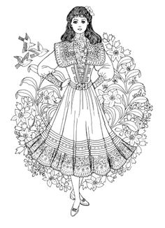 Art Nouveau Fashions Coloring Book, Dover Publications