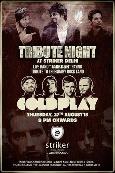 Tarkash Band pays Tribute to British Rock band Coldplay at Striker Pub and Kitchen Ambience Mall, Vasant Kunj on 27 August 2015 Trippy Wallpaper, British Rock, Live Band, Book Launch, Coldplay, Upcoming Events, Music Bands, Rock Bands, Mall