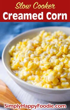 Slow Cooker Creamed Corn is a tasty vegetable side dish. The creaminess & sweet corn flavor make my crock pot creamed corn way better than the canned stuff. Slow Cooker Creamed Corn, Creamed Corn Recipes, Slow Cooker Soup, Crockpot Side Dishes, Side Dishes Easy, Side Dish Recipes, Slow Cooker Recipes Dessert, Crockpot Recipes, Vegetable Side Dishes