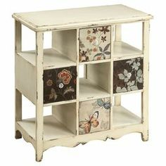"Warmly weathered chest with floral drawer fronts. Product: ChestConstruction Material: Fir wood and MDF Color: Ivory Features: Will enhance any spaceEye-catching designDimensions: 36.25"" H x 33.5"" W x 19"" D"
