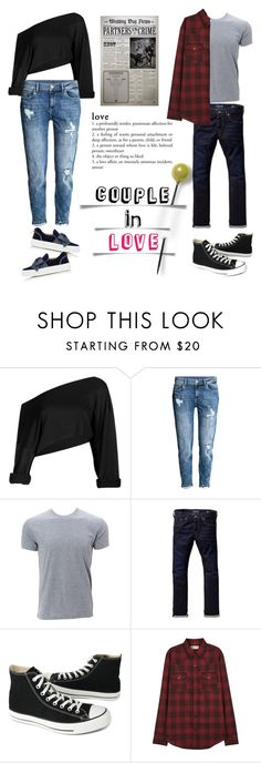 """""""couple in denim"""" by sassyluwarsie ❤ liked on Polyvore featuring H&M, Simplex Apparel, Scotch & Soda, Converse, Yves Saint Laurent, BUSCEMI and denim"""