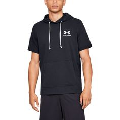 The Under Armour Men's Sportstyle Terry Short Sleeve Hoodie is made from cotton and polyester fabric and features moisture-wicking technology. Under Armour Men's Sportstyle Terry Short Sleeve Hoodie Black, Small - Men's Athletic Jackets at Academy Sports Under Armour Herren, Under Armour Men, Sport Style, Short Sleeve Hoodie, Short Sleeves, Logos Retro, Outfit Trends, Outfit Ideas, Underwear Shop
