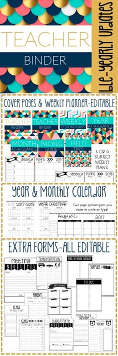 Editable Geometric or Modern Teacher Binder & Planner Pack. Over 100 pages of beauty!