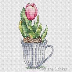 "Cross stitch design ""Tulip"" Designer – Sichkar Svetlana Artist – Marina Lebedeva The size of the embroidery: crosses (for canvas aida 14 is cm) Cross Designs, Cross Stitch Designs, Cross Stitch Patterns, Cross Stitching, Cross Stitch Embroidery, Fantasy Cross Stitch, Cross Stitch Collection, Cross Stitch Flowers, Pattern Art"