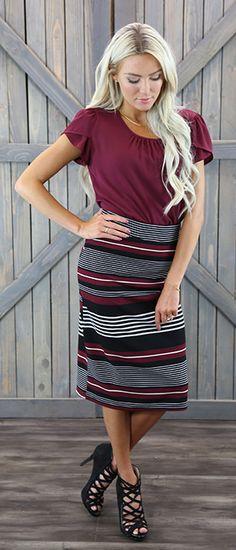 Pencil Skirt Med Length [W2093] - $34.99 : Mikarose Boutique, Reinventing…