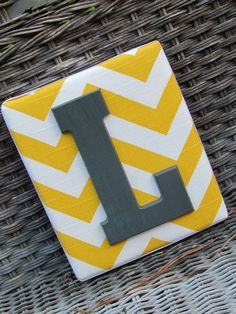 Wall Letters Chevron Letters Painted by spellitwithstyle Chevron Letter, Chevron Monogram, Yellow Chevron, Chevron Walls, Gray Yellow, Painted Letters, Fabric Letters, Wood Letters, Letter Wall