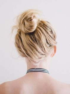 A messy topknot.