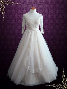 Illusion Lace Ball Gown Wedding Dress with Sleeves  Charlotte