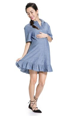 Chambray is chic this season! The Chambray Maternity Dress from Mayarya.