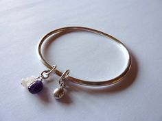 Sterling Silver Oval Charm Bangle with Amethyst, Moonstone and Silver Nugget Charms - Sold