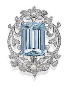 AQUAMARINE AND DIAMOND BROOCH, Sotheby's Australia Auctions, Calender, Australian Auctioneers