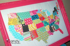 fabric scrap map!!! OK I am doing this for sure!