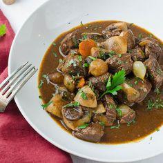 Julia Child's Boeuf Bourguignon in a dish Bourguignon Recipe, Homemade Beef Stew, Slow Cooked Beef, Beef Recipes, Beef Tips, Cuban Recipes, Fall Recipes, Yummy Recipes, Dinner Recipes