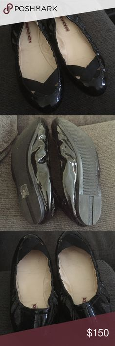 PRADA ballet flats!!! Authentic Patent leather authentic PRADA ballet flats... Like new, only worn a couple of times. Too small for me... Great look!!!  Great Deal!!! Prada Shoes Flats & Loafers