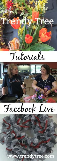 Follow Trendy Tree on Facebook for live tutorials! You can also visit our website http://www.trendytree.com to see along list of tutorials.  #TrendyTree #wreathtutorial #facebooklive