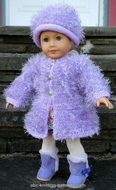 American Girl Doll Fur Coat - http://www.abc-knitting-patterns.com/1404.html