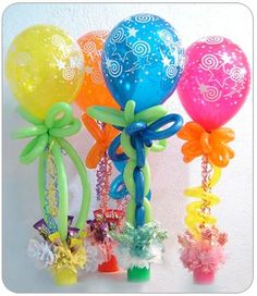 kids party centerpieces - so effective. The kids will be amazed! Also to be used as party favors! Kids Party Centerpieces, Balloon Centerpieces, Party Decoration, Balloon Decorations, Quince Decorations, Wedding Centerpieces, Diy Party, Party Favors, Party Ideas