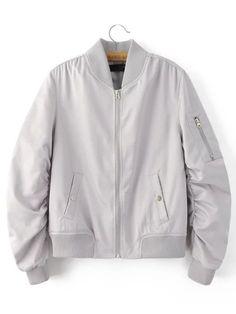 032176aaa0b Grey Rib-knit Cuff Zipper Pocket Jacket Olive Jacket