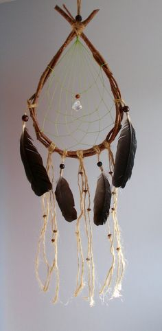 Teardrop Dreamcatcher  Rustic Wallhanging Home by WindalaCrafts