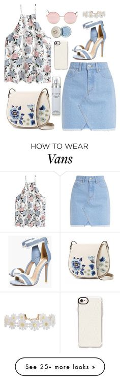 """Daisies in blue."" by meowingcat on Polyvore featuring French Connection, Casetify, Boohoo, Vans, Kenneth Cole, Humble Chic, Summer, Pink, lightblue and daisies"