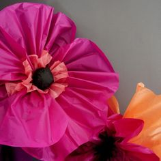 These paper flowers are so easy to make, plus they are really light so they're also easy to hang.
