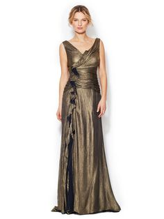 Silk Ruched Halter Gown by Badgley Mischka Collection at Gilt