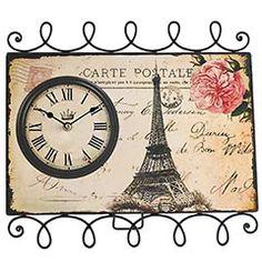 "Eiffel Tower Postcard clock. Cute little desk decoration possibility? 13.75""W x 1.75""D x 14.75""H ($20)"