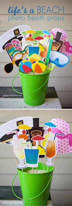 Cool DIY Printable Photo Booth Props | Life's a Beach Photo Booth Props by DIY Ready at http://diyready.com/19-cool-diy-photo-booth-props/
