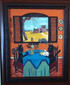 My painting that I made for my niece of cats having coffee in a desert home, with a window over-looking a mission in Arizona (near where she was raised).