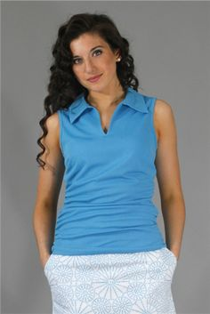Wear to Win Shirts - Slimming Ruched Marine Blue.  Buy it @ ReadyGolf.com Womens Golf Shirts, Marine Blue, Ladies Golf, Slim, How To Wear, Tops, Style, Fashion, Swag