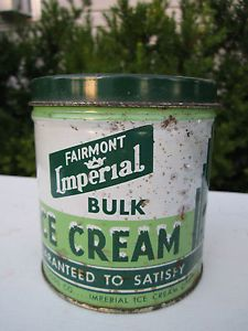 old fashioned tin cans | Vintage Ice Cream Can Tin Fairmont Imperial Old Fashioned Parkersburg ...