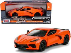"""PRODUCT DESCRIPTION Brand new 1/24 scale diecast car model of 2020 Chevrolet Corvette C8 Stingray Orange """"Timeless Legends"""" die cast model car by Motormax. Brand new box. Real rubber tires. Has opening doors. Detailed interior, exterior. Officially licensed product. Made of diecast with some plastic parts. Dimensions approximately L-7.5, W-3.5, H-2 inches. Please note that manufacturer may change packing box at any time. Product will stay exactly the same. Rubber Tires, Diecast Model Cars, Car Brands, Chevrolet Corvette, Legends, Scale, Packing, Exterior, Plastic"""