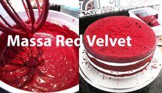 Receita de Massa Red Velvet Food Cakes, Bolo Neked Cake, Bolo Red Velvet Receita, Red Valvet, Dream Cake, Velvet Cake, Cake Recipes, Bakery, Food And Drink