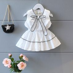 Girl Clothing Set Bow-knot Top+Dress For Baby Girl Summer Wear Children Clothing 2 Pcs Baby Clothes Newborn Girl Outfits, Baby Girl Dresses, Baby Dress, Kids Outfits, Princess Dresses, Wholesale Baby Clothes, Cheap Kids Clothes, Girl Sleeves, Kind Mode