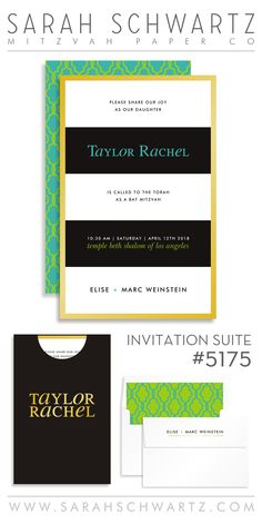 gold, lime + aqua bat mitzvah invitation suite with b+w stripes form www.sarahschwartz.com/bat-mitzvah-invitations-5175