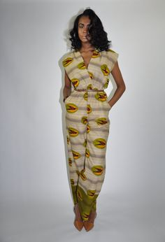 African Print Jumpsuit The Frances Jumpsuit by ChenBCollection