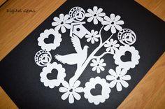 On Sale Dove And Flower Paper Cut Template SVG File par DigitalGems