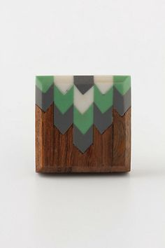 feather inlaid wood knob