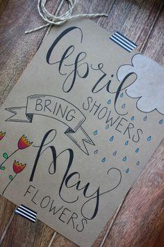April Showers Bring May Flowers Chalkboard Doodles, Chalkboard Lettering, Chalkboard Designs, Hand Lettering Quotes, Doodle Lettering, Typography, April Bullet Journal, Bullet Journal Inspiration, Bullet Journals