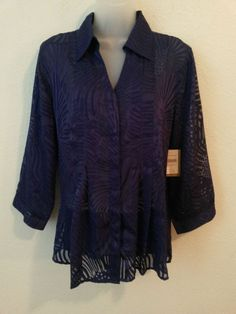 New Women's Purple Sheer Blouse by Coldwater Creek Size Large (14/16)