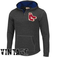 Mitchell & Ness Boston Red Sox Cooperstown Collection Hooded Long Sleeve T-Shirt - Charcoal
