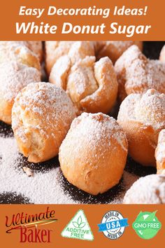 An easy way to add flair to your donuts, cakes, and baked goods is to dust on Ultimate Baker white d Donut Recipes, Cookie Recipes, Baking Recipes, Dessert Recipes, Savoury Baking, Healthy Baking, Baker Cake, Delicious Desserts, Yummy Food