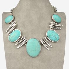 Just Beautiful... Ocal Leaf Natural Turquoise & Tibet silver...  Nice Big & Chunky Necklace $32.99 ƸӜƷ  http://www.facebook.com/MarisolBling