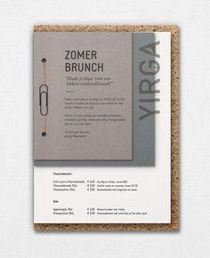 Menu design for Yirga, urban espresso bar in Breda. Design by Thunder&Bold.