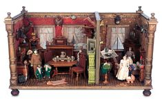 German Wooden Doll House Rooms with Christmas Tree by Christian Hacker c1900
